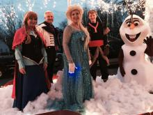 Characters from the movie, Frozen, on The Bank of Lafayette's float in the annual LaFayette Christmas parade on December 5th.